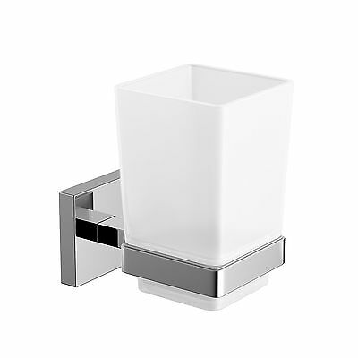 Modern Chrome Toothbrush Holder Wall Mount Tumbler Square Bathroom Accessory ...