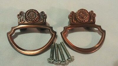 Vintage Ajax Copper Metal Drawer Pulls Cabinet Door Handles Hardware #6