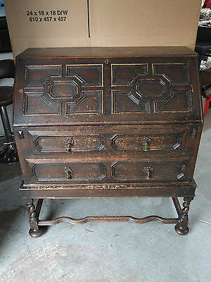 Victorian Solid Oak Bureau With Fitted Interior On 'Dutch' Base c.1900 [5516]