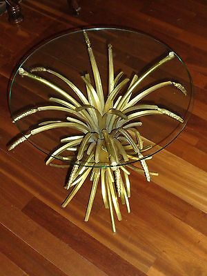 Mid-Century Hollywood Regency Gold Tole Sheaves Of Wheat Glass Top Table
