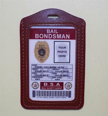 Bail Bondsman ID Badge  CUSTOMIZE WITH YOUR PHOTO & INFO   BAIL SURETY AGENT ID