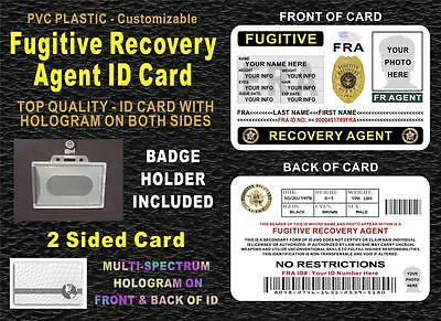 Fugitive Recovery Agent ID Badge (2 SIDED CARD W/ HOLOGRAMS) CUSTOMIZABLE - PVC