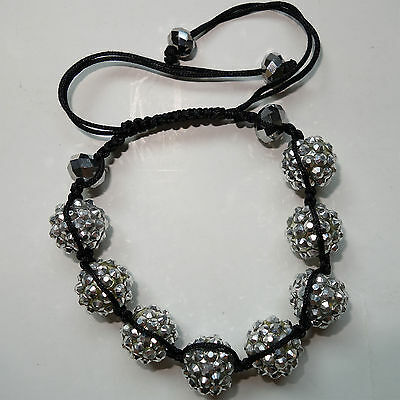 Shamballa Crystal Disco Ball Charm Bracelet Wristband Bangle Womens Ladies Girls