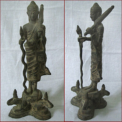 Antique 19Thc Bronze Statue Of Theravada Monk With Umbrella & Staff Buddha Bur