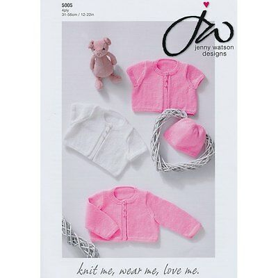 Jenny Watson Baby Girl Cardigans Hat 4ply Yarn Knitting Pattern 5005