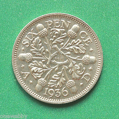 1936 George V Uncirculated Silver Sixpence SNo41524