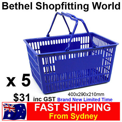 5 Small Plastic Shopping Hand Basket For Fruit, Supermarket Store Brand NEW!