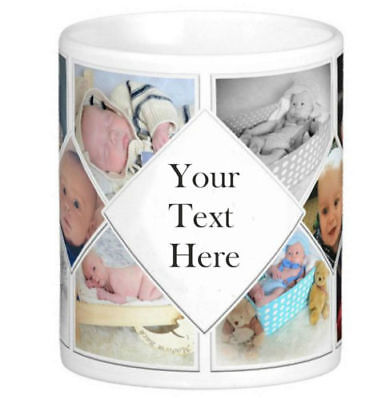 Personalised Mug 10 Photo Collage Add Any Text Custom Design Gift Tea Coffee Cup