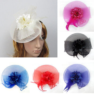Ladies Flower & Feather Hat Fascinator Aliceband Headband -Wedding Party Races