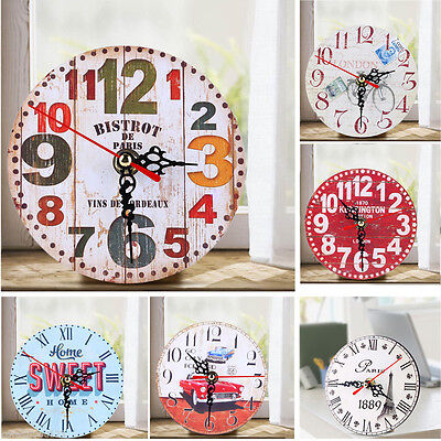 Vintage Antique Wooden Wall Clock Shabby Chic Retro Rustic Kitchen Home Decor