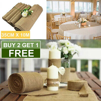 Hessian Table Runner Roll Burlap Vintage Jute Wedding Home Decoration 10M*35CM