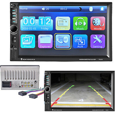 """7""""HD Bluetooth 2Din Car Stereo Radio Touch Screen FM MP5 Player Rearview Ca"""