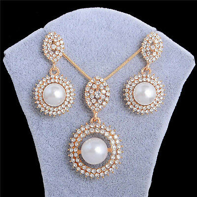 18k Gold Plated White Pearl Pendant Chain/Necklace/Earrings Jewelry Set