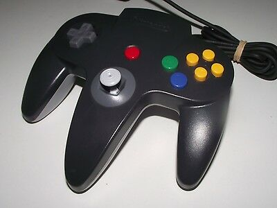 Genuine Nintendo 64 N64 Charcoal Black & Grey Controller Refurb Toggle