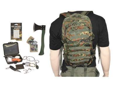 SURVIVAL SET ASSAULT PACK + SURVIVAL BOX + BEIL usw. Rucksack Trekking Set