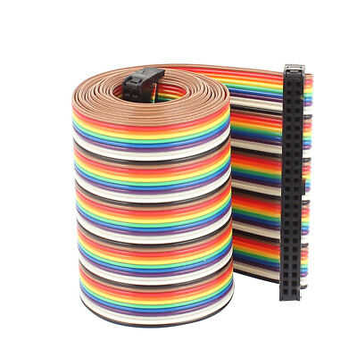 1.28 Meter 2.54mm Pitch 50P 50 Way F/F Rainbow IDC Flat Ribbon Cable Connector