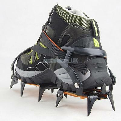 12-Teeth Ice Snow Climbing Walking Boot Shoe Cover Cleats Crampons Gripper