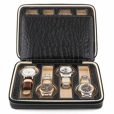 Black Faux Leather 8 Grids Watch Storage Box Watch Display Box Case Tray Travel