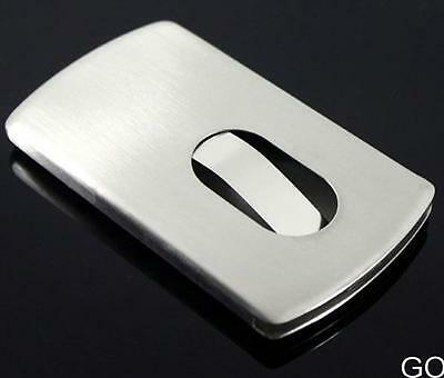 Thumb Slide Out Stainless Steel Pocket Business Credit Card Holder Case