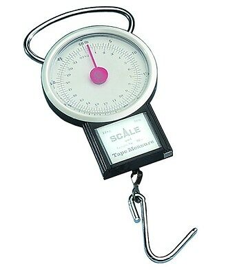 Dennett Budget Mini Dial Fish Weigh Scale 50lb Fishing Scales w/ Tape Measure
