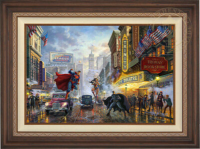 Thomas Kinkade Batman, Superman and Wonder Woman 24 x 36 LE S/N Canvas Framed DC