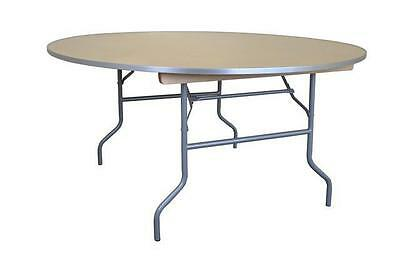 """(6) Folding Round Tables 60"""" Wood Dining Table Indoor Outdoor Party Event Rental"""
