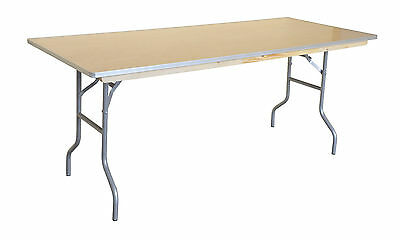 (6) Dining Tables 6ft Wood Folding Rectangular Banquet Table Commercial Quality