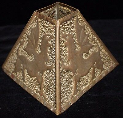 Hand-Made Ca. 1900 Arts & Crafts Brass Shade featuring Griffins