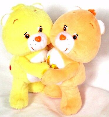 2 CARE BEARS vtg  2002 FUNSHINE & FRIEND Hugging Plush Attached Velcro Toy Doll