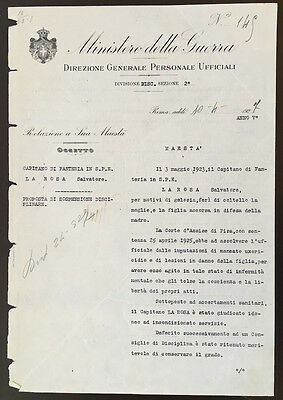 1927 Document SIGNED by Italian Prime Minister Benito MUSSOLINI Fascist Party