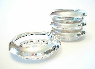 FRANK M. WHITING - 4 Sterling Silver & Glass Coasters - U.S. - Mid 20th Century
