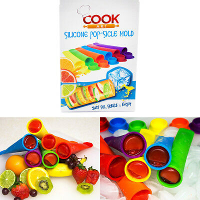 CookArt Silicone Ice Pop Popsicle Molds Sticks Mold BPA Free Ice Makers Set of 6