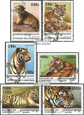 Cambodia 1800-1805 (complete issue) used 1998 Year of tigers