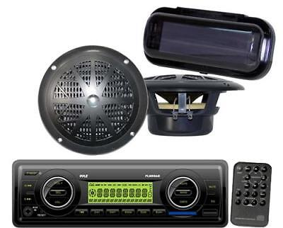 Brand New Black Marine Boat USB MP3 AN FM WB Radio Stereo/ 2 New Speakers +Cover
