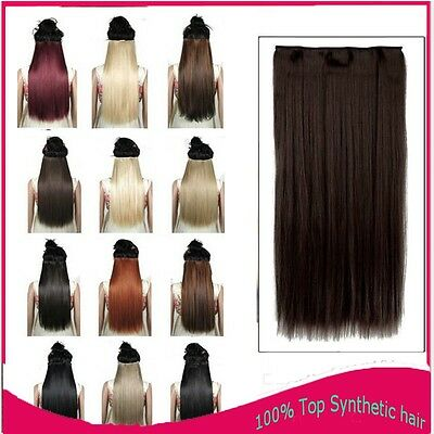 """AU Lady 3/4 Full Head Clip in Hair Extensions 17"""" 23"""" 26"""" 30"""" Thick as Human FJ1"""