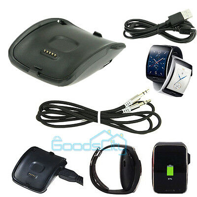 For Samsung Galaxy Gear S Smart Watch SM-R750 Charger Charging Dock+ Audio Cable