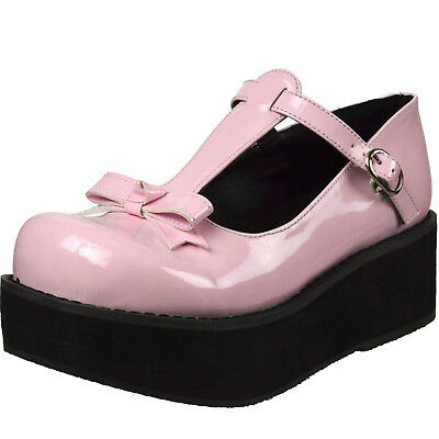 0826e85a3ee DEMONIA Platform Wedge Patent Mary Jane T-Strap Bow Buckle SPRITE-03 Baby  Pink