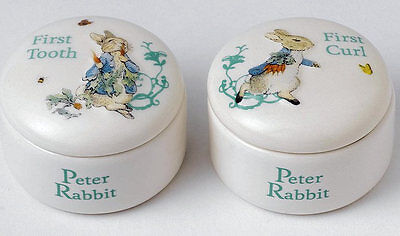 Beatrix Potter Peter Rabbit Tooth & Curl Trinket Boxes Baby Gift Idea NEW 19787