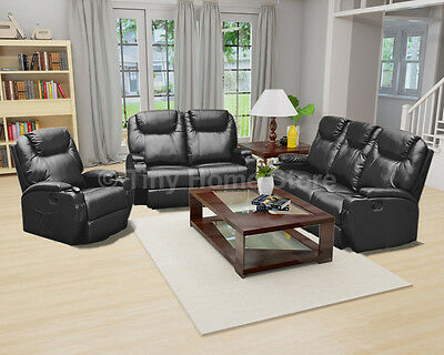 Luxury Leather Cinema Recliner Sofa 3+2+1 Settee Suite Arm Chair Lazy Boy