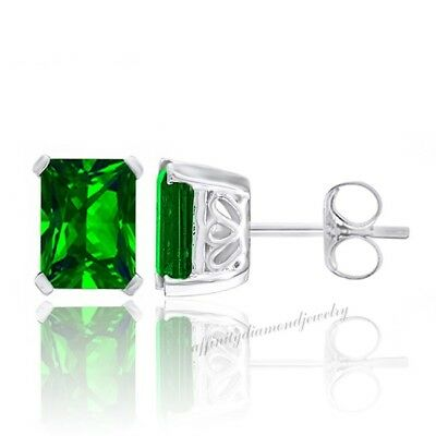 1.70 Ct Emerald Cut Chrome Diopside White Gold Over 925 Silver Stud Earrings
