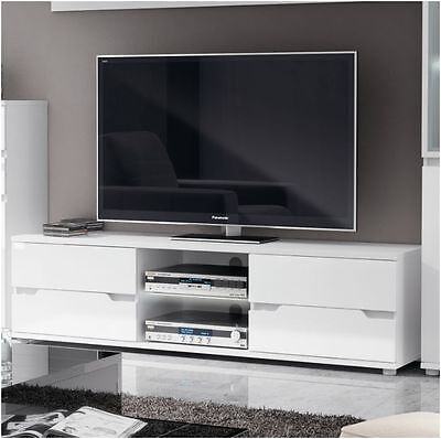 Aspire High Gloss White TV Stand Media Unit Lounge Furniture with LED