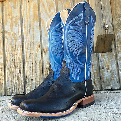 ca0ca7c0997 ANDERSON BEAN MEN'S Black Smooth Ostrich Square Toe Cowboy Boots 6358A Usa  Made!