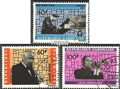 Gabon 478-480 (complete issue) used 1972 Famous jazz musician