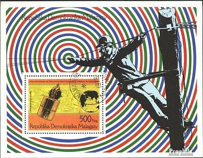 Madagascar block12 (complete issue) used 1976 100 years Phone