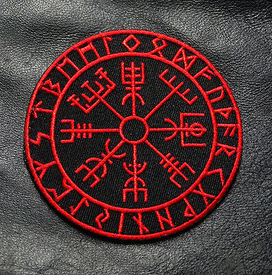 Viking Compass Vegvisir 3.5 Inch Red/Blk Morale Hook Patch By Miltacusa