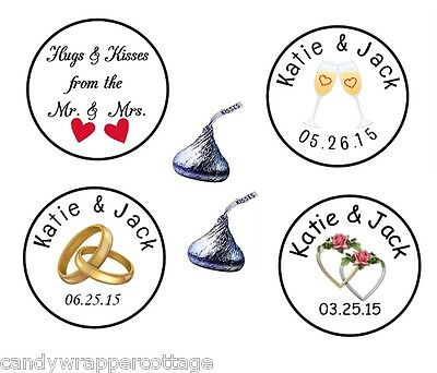 108 Wedding Rings Roses Hearts Kisses Kiss Labels Stickers Personalized Favors