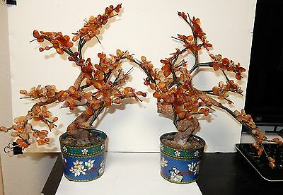 Pair Of Old Cloisonne Enamel Solid Agate Jade Stone Blossom Tree