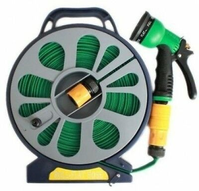 HIGH QUALITY 50FT FLAT GARDEN HOSE PIPE and REEL WITH SPRAY NOZZLE GUN OUTDOOR