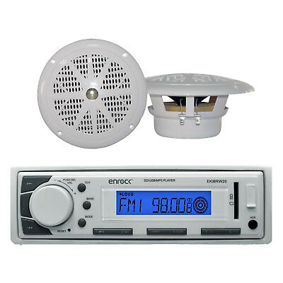 "Best Ever Marine Boat Radio MP3 USB SD AUX iPod Input Receiver 2 4"" Inch Speaker"