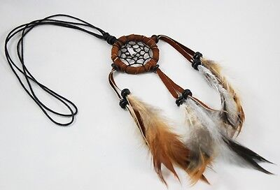 Brown Necklace DREAM CATCHER Circle Handmade Craft feather Charm Cool Leather